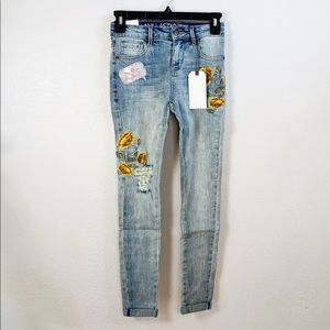 Embroidered Flower Mid Rise Skinny Distressed Jean